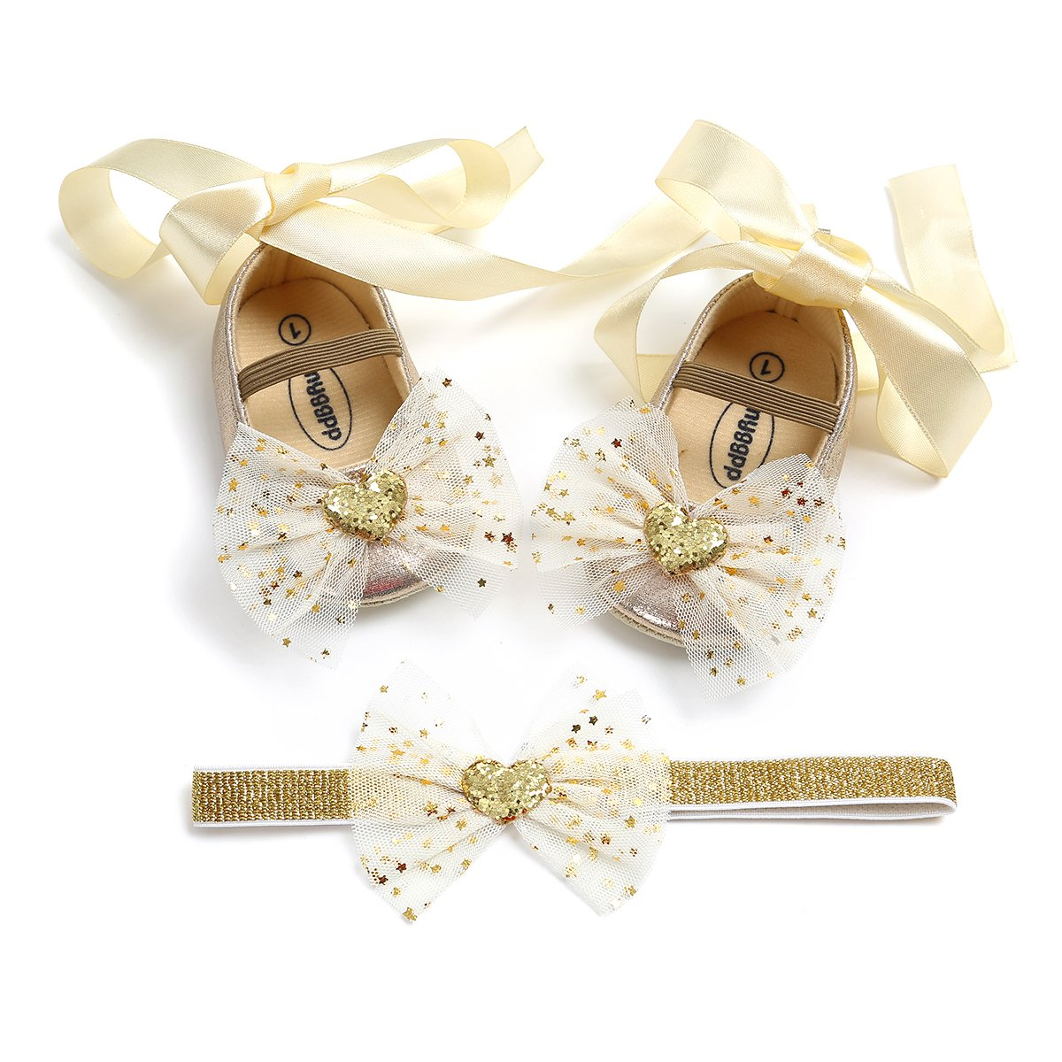 Kuner Toddler Girl Shoes Soft Soled Shoes Lace Wedding Shoes Chiffon Bow Girl Shoes(11cm(0-6months),Golden)