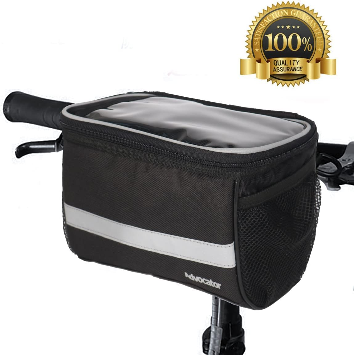 Advocator Bicycle Front Bags, Bike Handlebar Bag with Sliver Grey Reflective Stripe Outdoor Activity Cycling Basket Frame Pack Accessories Touchscreen Operation Transparent PVC Pouch