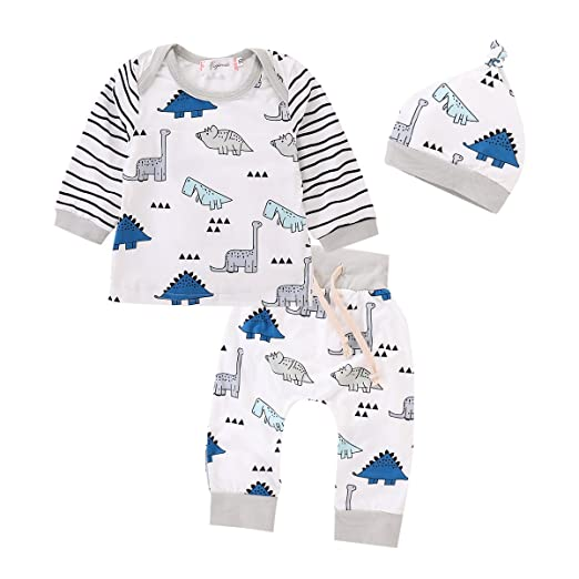 354ca0566 Amazon.com  3PCS Newborn Baby Girls Boy Striped Tops+Cartoon ...
