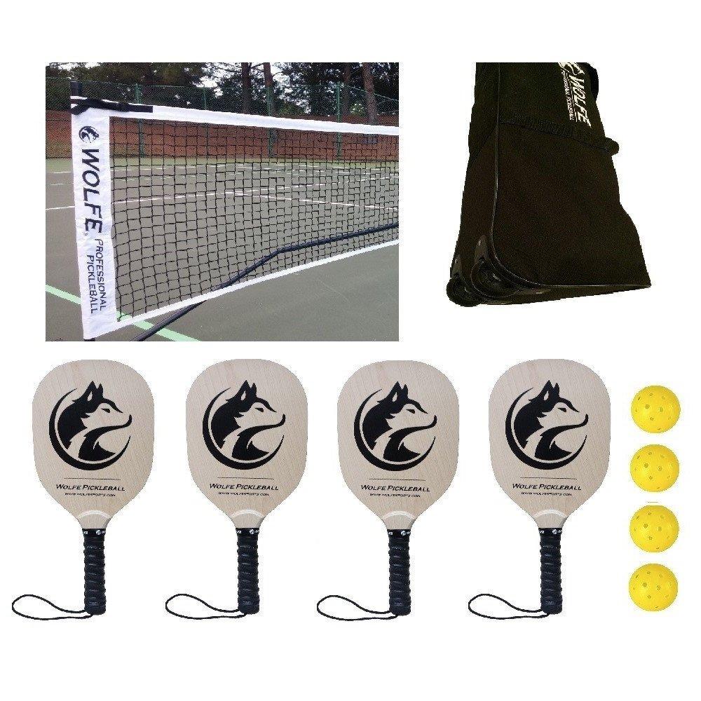 Wolfe Sports Portable Pickleball Net SET Net/Paddles/Balls (Tournament) by Wolfe
