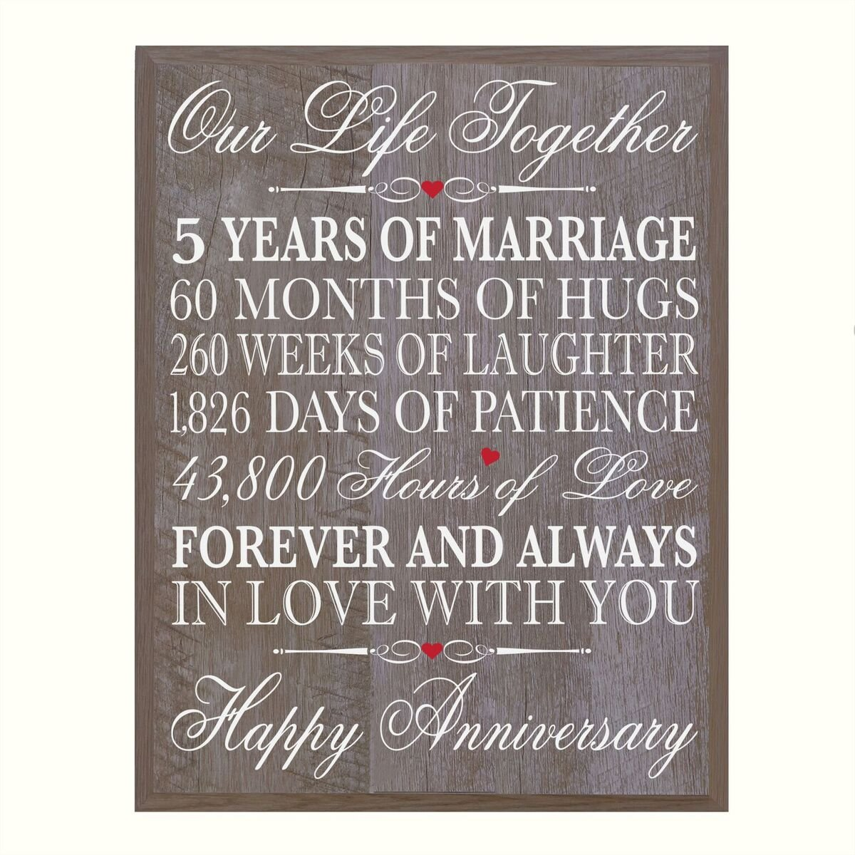 """LifeSong Milestones 5th Anniversary gifts decorations women men Couple, 5 year wedding Anniversary Gift for him Her husband, 12 W X 15"""" H Wall Plaque By (walnut) 80394"""