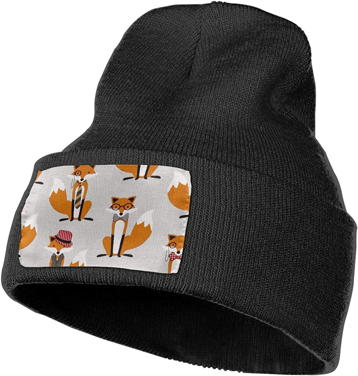 ONHIM Houndstooth Foxes Men /& Women Winter Warm Kintted Beanie Hat Skull Wrinkled Hats