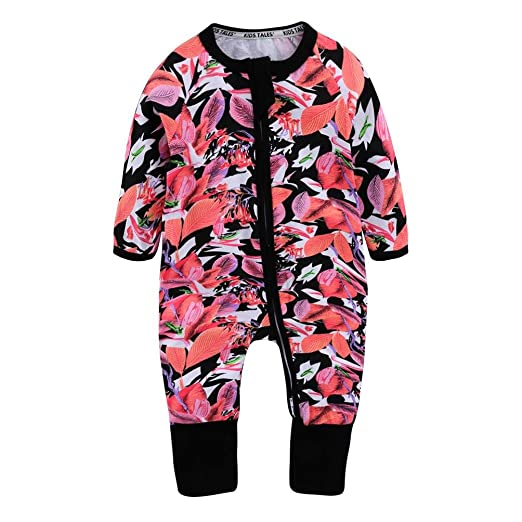 5d7b58d47 Amazon.com  iumei Infant Flowers and Leaf Long Sleeve Zip up ...