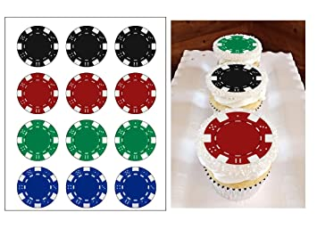 Edible Casino Chips Cake Decorations Cupcake Toppers Las Vegas Birthday