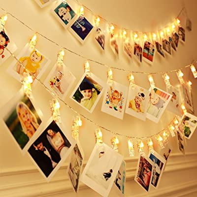 Photo Clip String Lights Upgraded with Remote | Decorative Picture Hanging Lights for Bedroom | Battery Powered, 40 LED, Warm White for Teenage Room | Electric Christmas Fairy Firefly Twinkle Lights : Garden & Outdoor