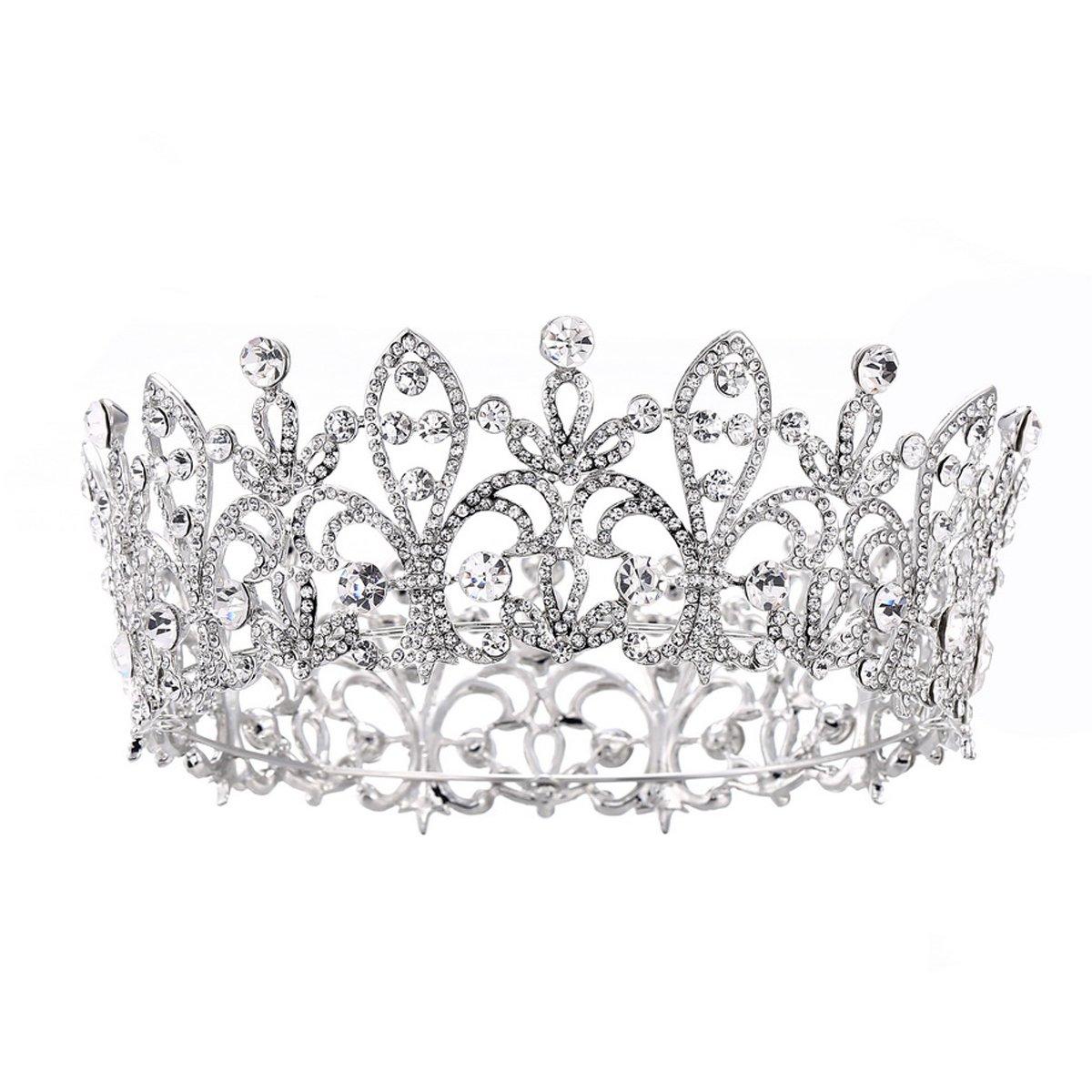 Eseres Princess Tiara Full Round Wedding Crown for Brides Women Birthday Crown …