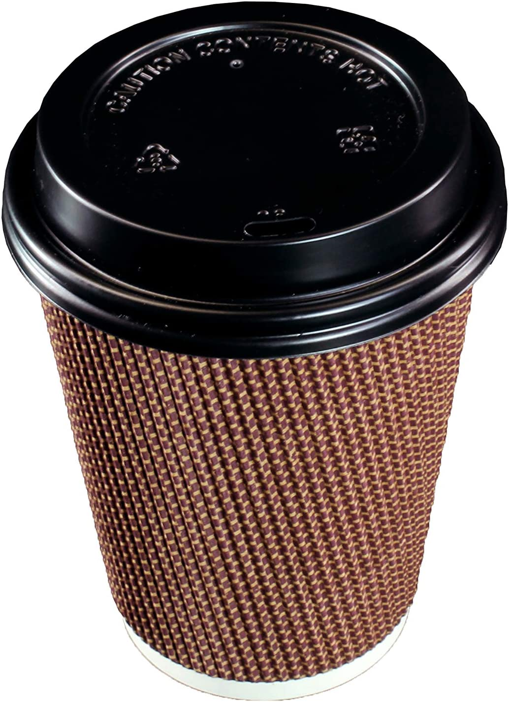 [100 SETS] 12 oz Disposable Double Walled Hot Cups with Lids - No Sleeves needed Premium Insulated Ripple Wall Hot Coffee Tea Chocolate Drinks Perfect Travel To Go Paper Cup and lid Brown Geometric