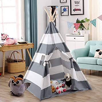 Costzon Kids Play Tent Indian Tent 5' Cotton Canvas Baby Children Playhut With Carry Bag, Indoor And Outdoor Kid Teepee Tent For Toddlers Boys And Girls (Gray &Amp; White Stripe) by Costzon