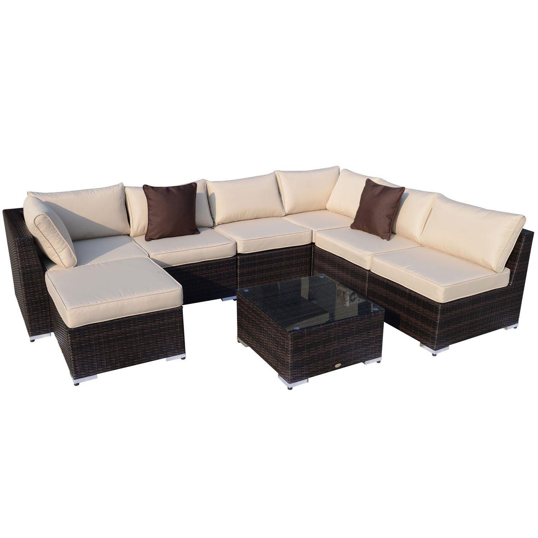 Outsunny Gartenmöbel 25 teilig Polyrattan Sofa Sitzgruppe Alu Rattan ...