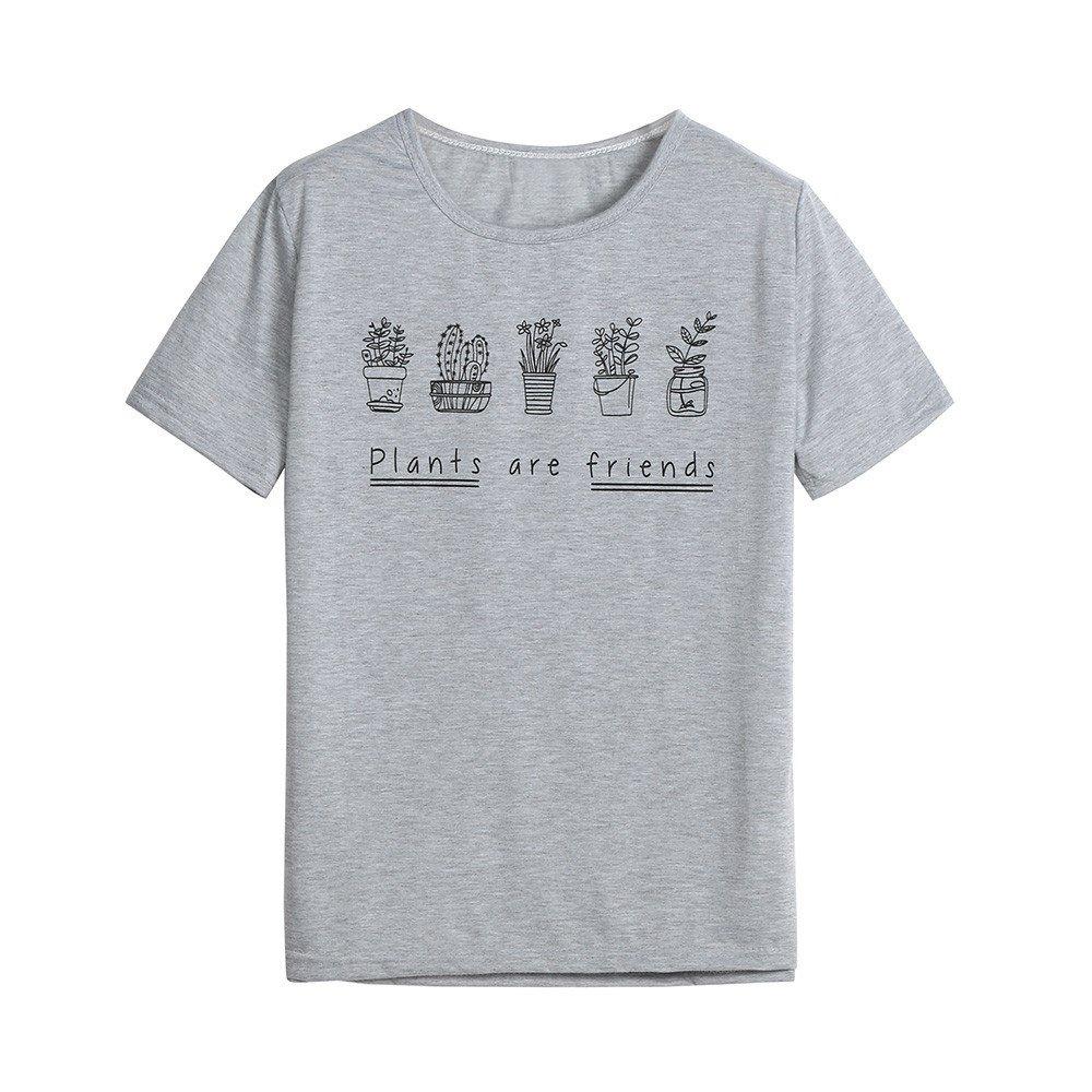 Nevera Women Summer Short Sleeve Funny Print Cute Graphic Crop Top T-Shirt Blouse Gray