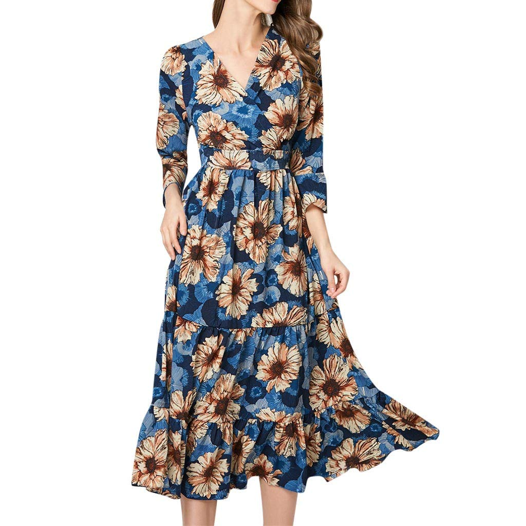 Peigen Women Printing A-line Dress Elegant Ruffles V-Neck Knee-Length Vintage Dress