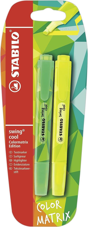 Stabilo Swing Cool colormatrix – Subrayador amarillo/verde (Pack de 2): Amazon.es: Oficina y papelería