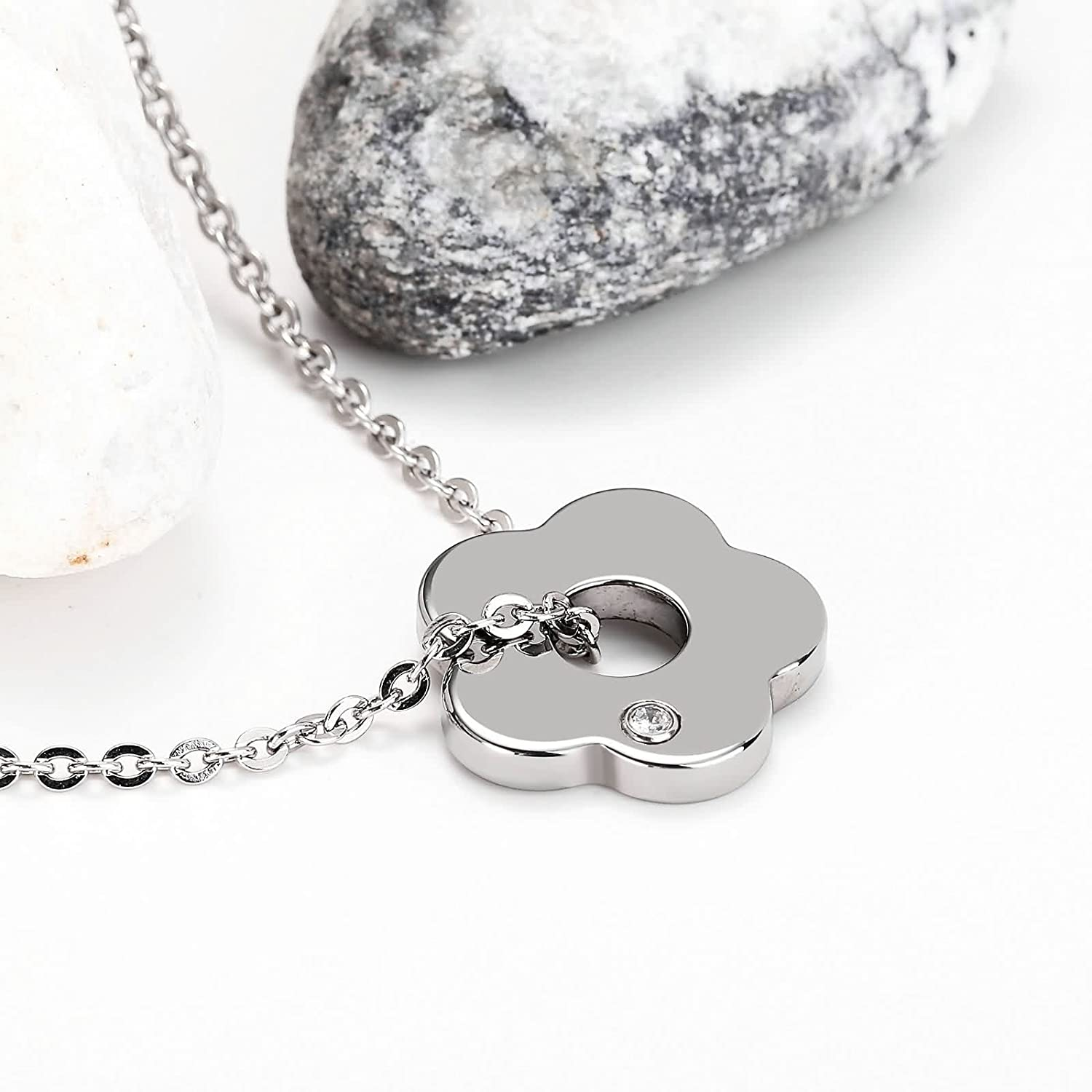 Aooaz Stainless Steel Necklace Women Lady Plum Pendant Necklace Silver Wedding for Wedding