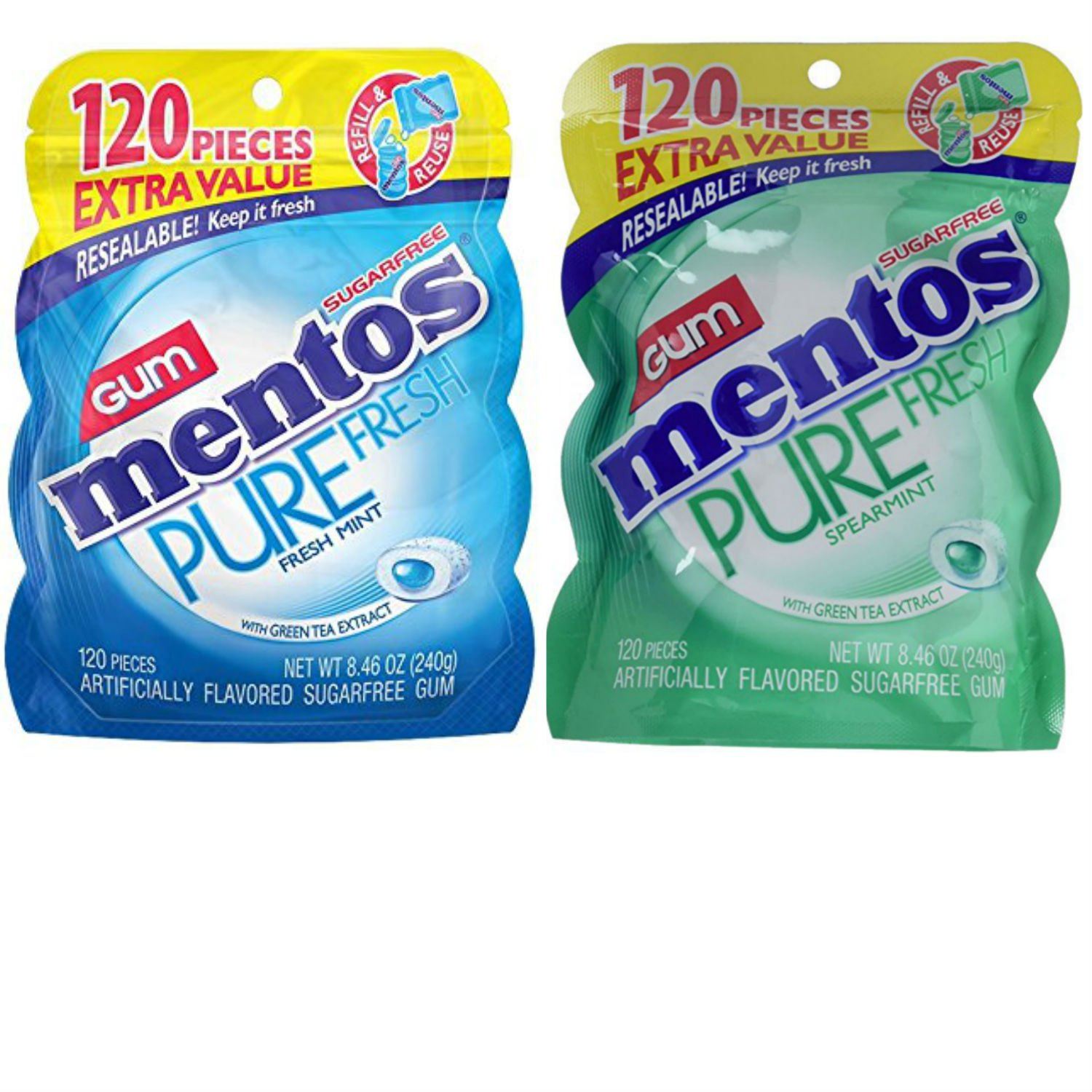 Mentos Pure-Fresh Spearmint and Fresh Mint Sugar-Free Gum Variety Pack. Convenient One-Stop Shopping. Easy To Source With 1 Click. Snacking Heaven