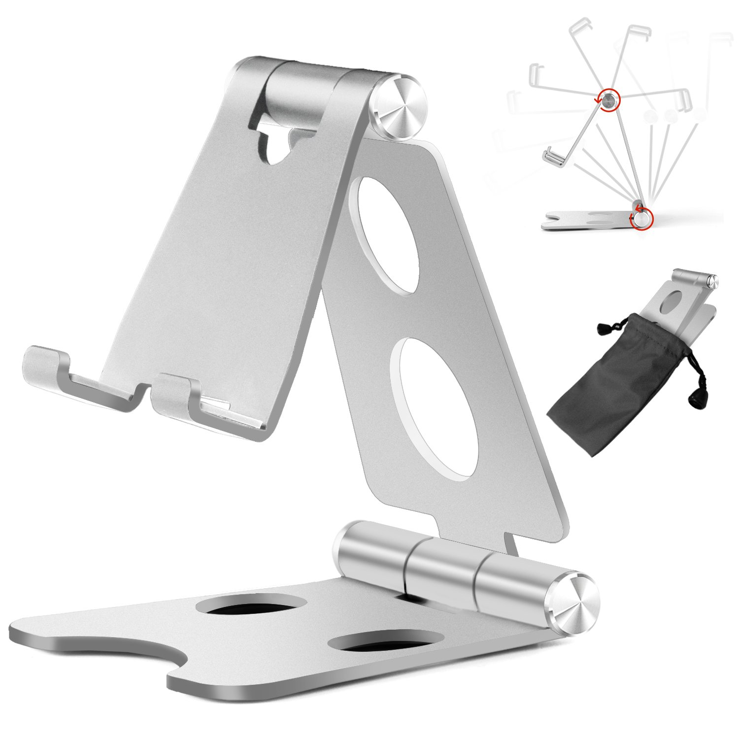 Cell Phone Stand, Multi-Angle Foldable Adjustable Aluminum Mobile Phone Tablet(4-10'') Holder Desktop Dock Compatible iPhone x 8 7 6 Plus iPad Mini, Accessories Desk - Silver