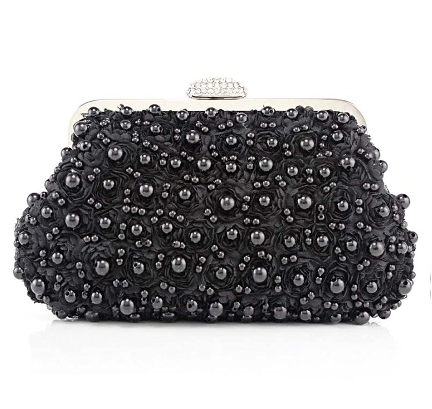 Abless Womens Faux Pearl Beads Lace Flower Evening Clutch Fashion Purse - Black