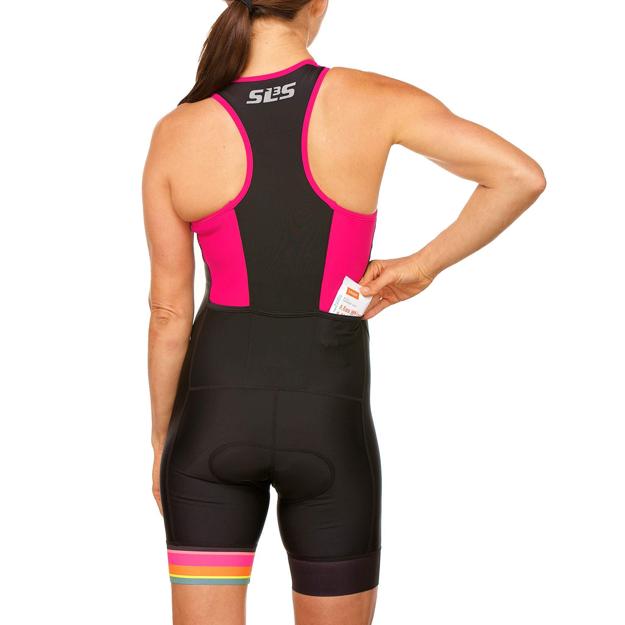 SLS3 Women`s Triathlon Tri Race Suit FRT | Womens Trisuit | Back Pocket Triathlon Suits | Anti-Friction Seams | German Designed (Black/Bright Rose, L) by SLS3 (Image #8)