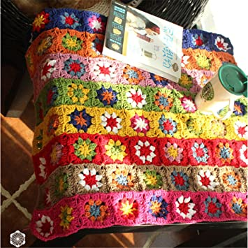 Ganchillo hecho a mano flores mantel Camino de mesa, para tejer sofá cojín manta para bebé, 80x60 cm: Amazon.es: Hogar