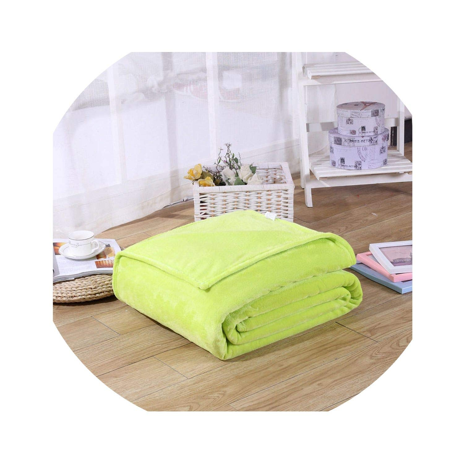 20X28Inches Blanket Super Soft Solid Black Color Coral Fleece Blanket Warm Sofa Cover Twin Queen Size,Lime Green,50X70Cm