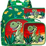 "3 PCS Toddler Backpack for Boys, 12.5"" Dinosaur Preschool Bag and Lunch Box Set"
