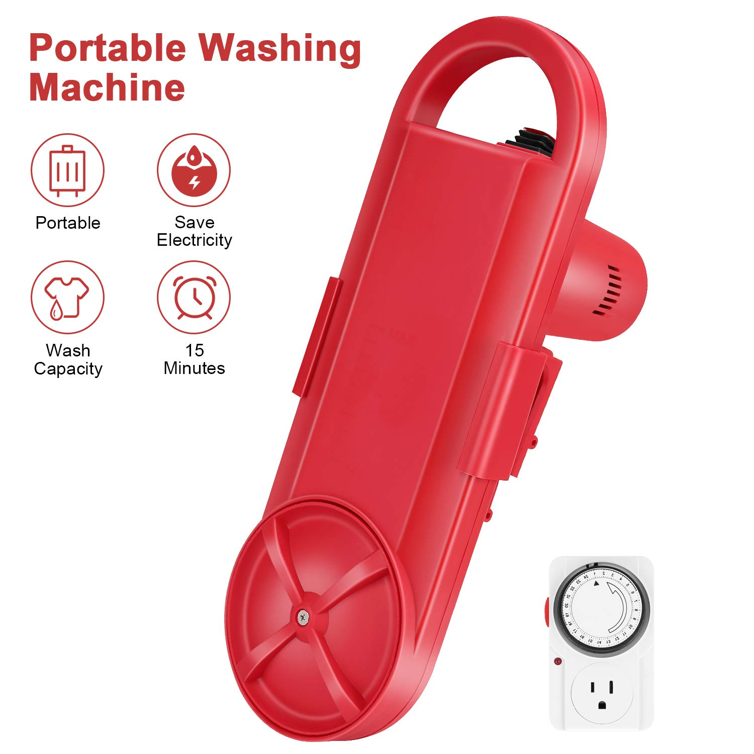 Portable Washing Machine - Mini Cleaning Tool for Personal Use, Underwear, Baby and Pet Clothes - Powerful Motor, Energy Saving Timer - Voltage: 100V, Power Watts: 190W - Red, 18.3x6.5x 5.9 Inch by Tonha