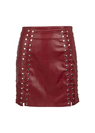 ad717e764 Womens Red Faux Leather Studded Mini Skirt â€