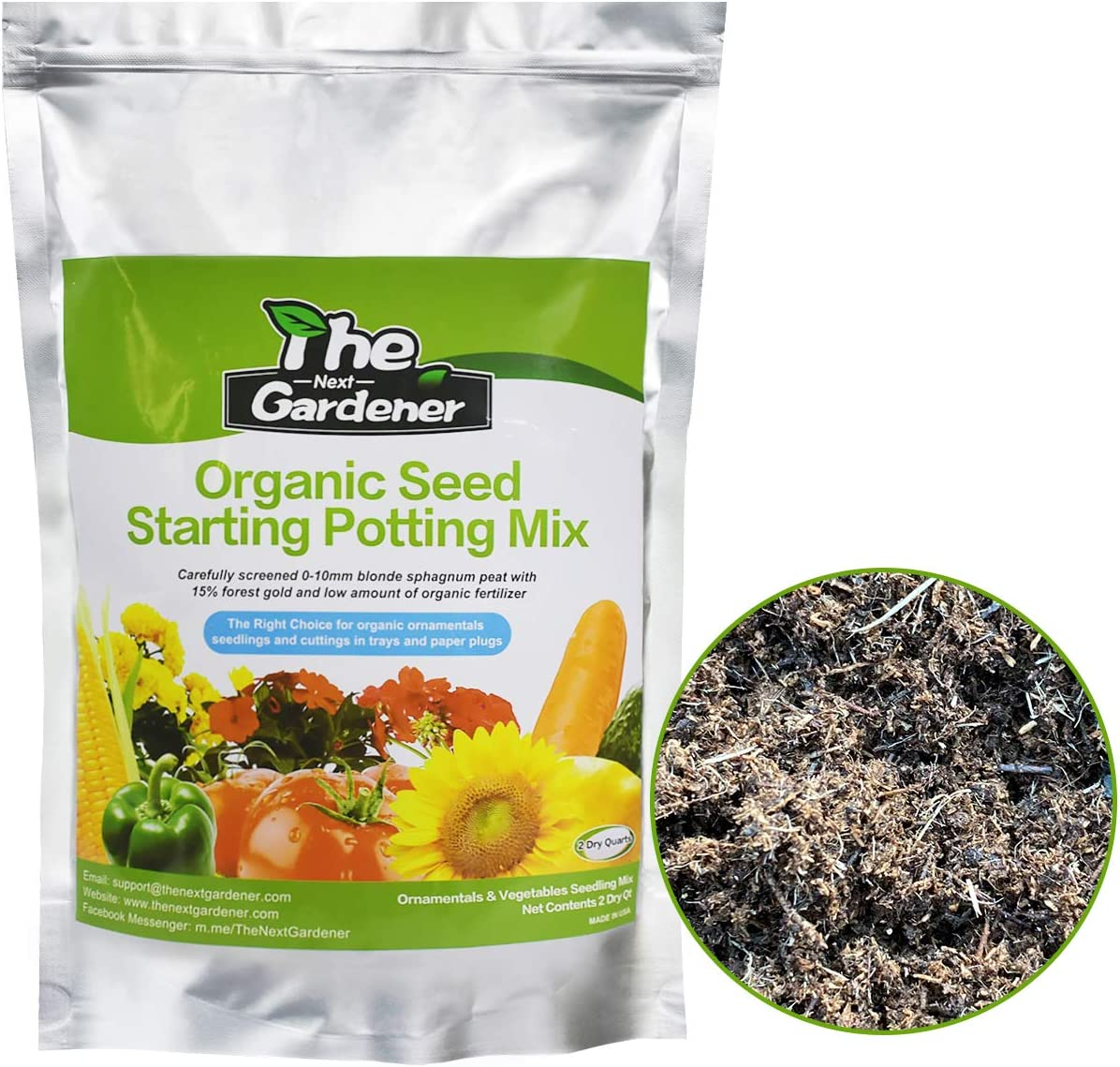 Organic Soil, Seed Starting Potting Mix, Green Seeding Soil Mix for Organic Ornamentals seedlings and cuttings, 2 Dry Quarts