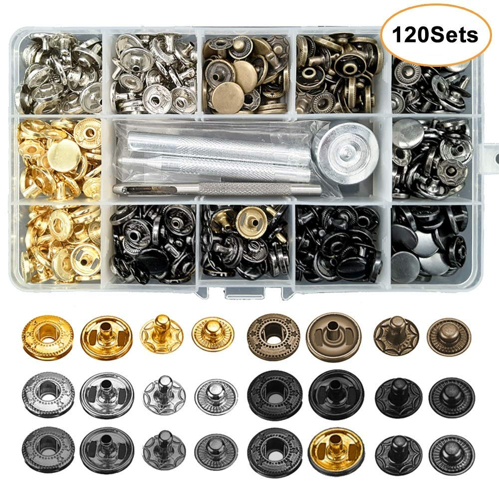 Bags Dukars 120 Sets Snap Fastener Kit,12.5mm Metal Snap Buttons Press Studs with 4 Pieces Fixing Tools for Clothing,Lether Jacket 6 Assorted Colors Bracelet Jeans Wear