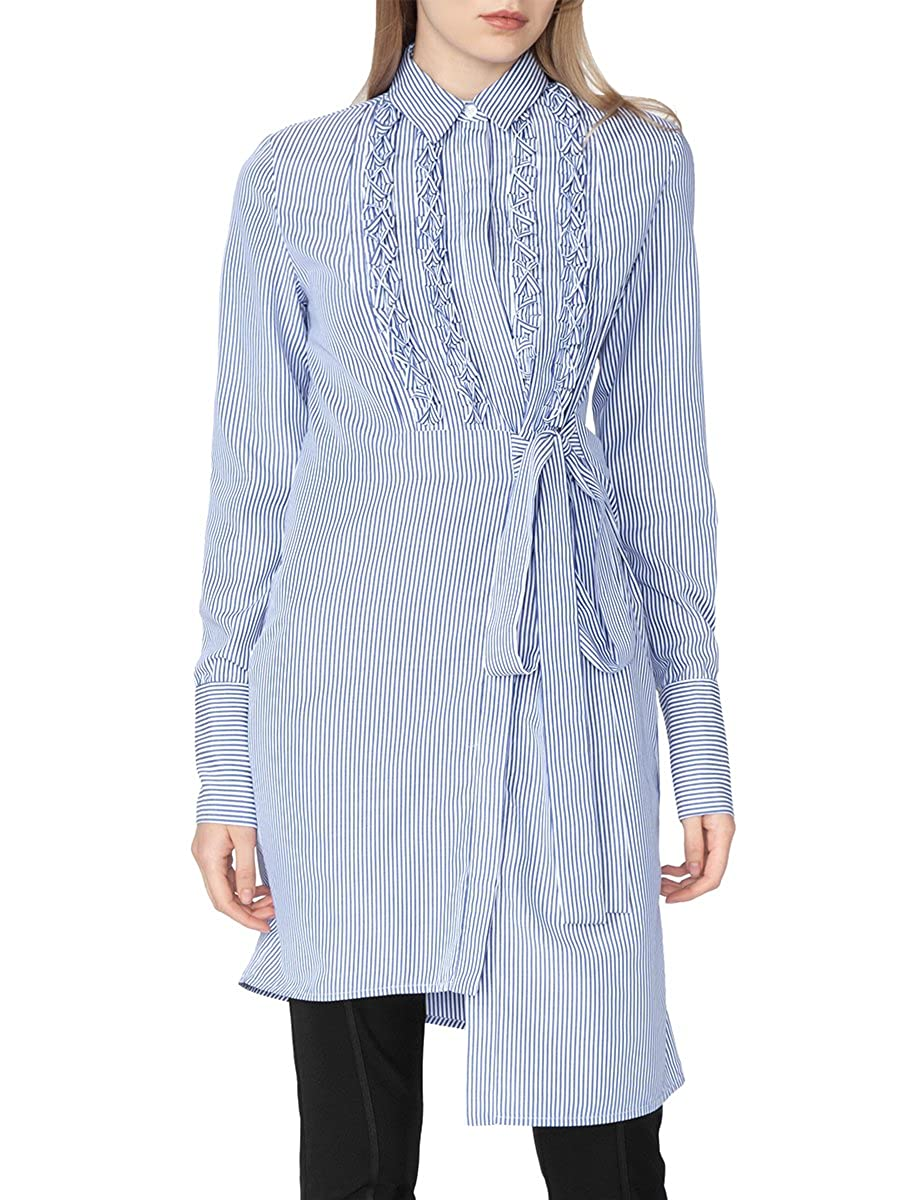 Gracia Ruffle Detailted Ribbon Belted Stripe Long Sleeve Shirts Dres
