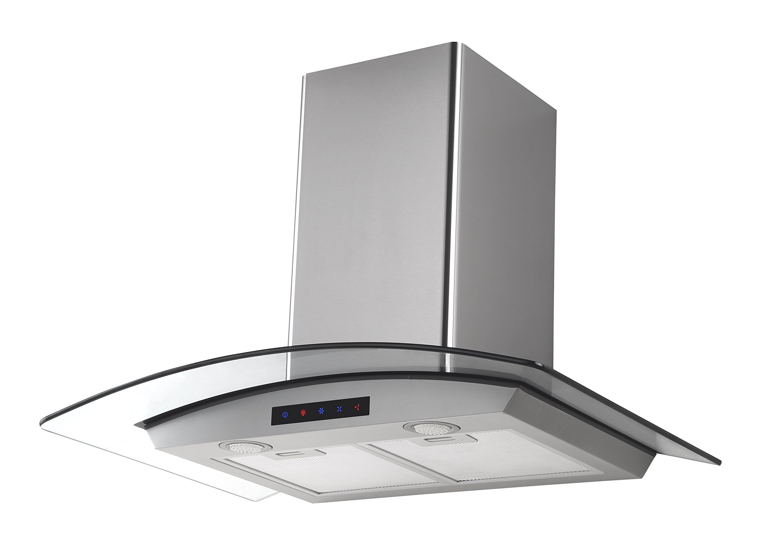 Kitchen Bath Collection HA75-LED Stainless Steel Wall-Mounted Kitchen Range Hood with Tempered Glass Canopy and Touch Screen Panel, 30''