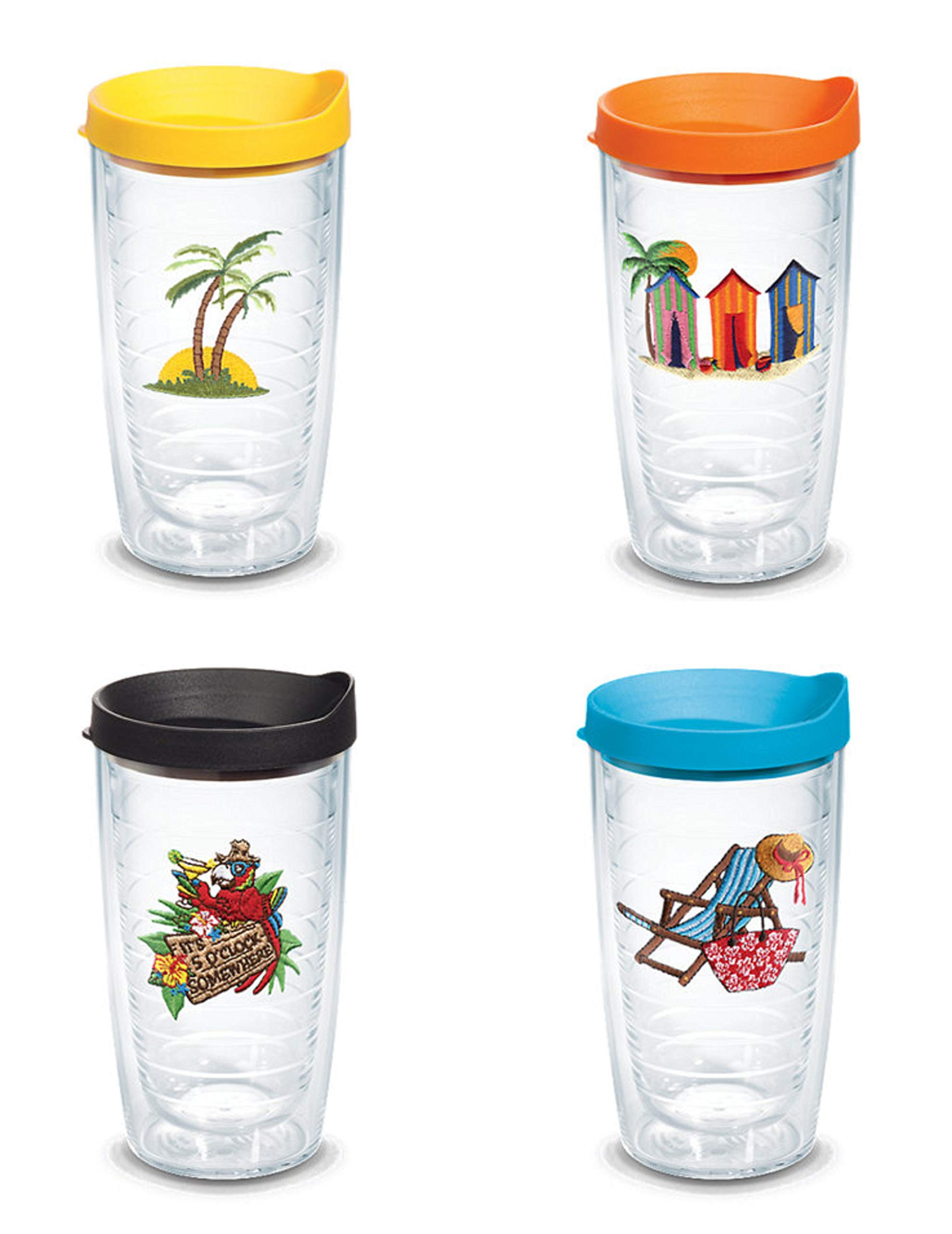 Tervis 16 Ounces Double Wall Tumblers ''Life On The Beach'', Set of 4 with Travel Lid