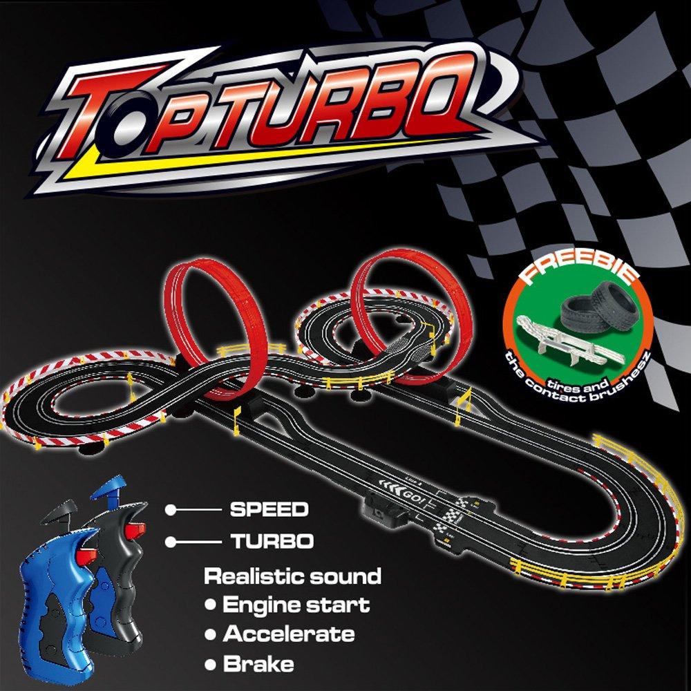 deAO Top Turbo Pista de Carreras Set 1:34 Coches Slot - Dos Montajes, Dos Velocidades para Principiante y Avanzado (9 Metros): Amazon.es: Juguetes y juegos