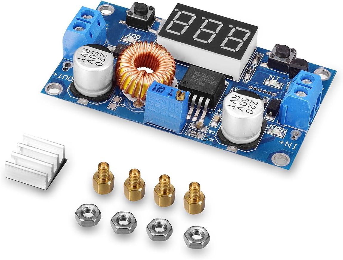 tinxi® 5A 75W DC convertidor DC Transformador Reductor de tensión con un voltímetro LED