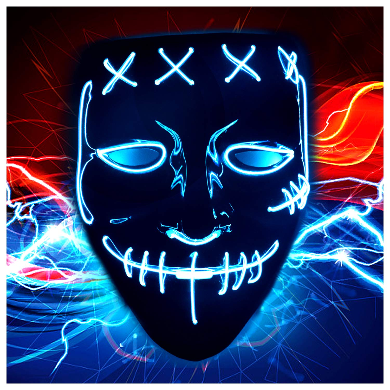 Halloween LED Mask Costume Blue by JUEYING
