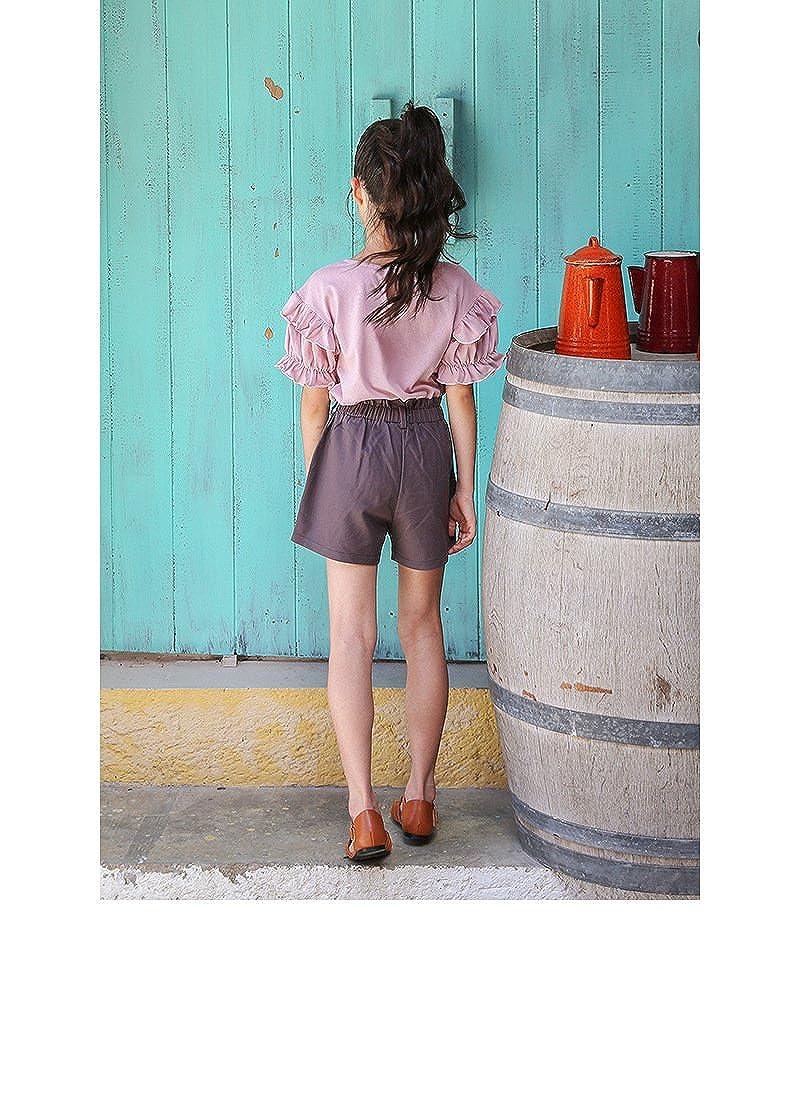 YueLian Girls Summer Plain Ruffle Sleeve Tops Shirt Solid Shorts Set