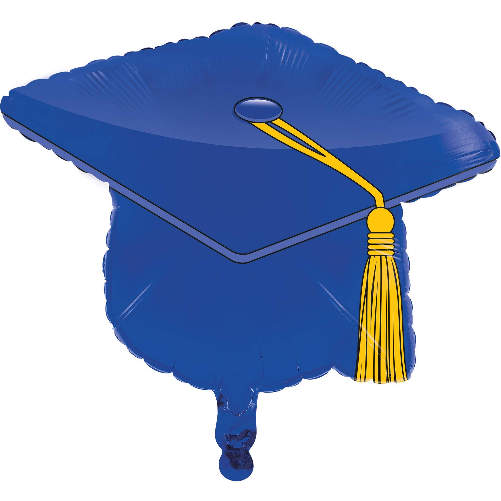Set of 10 Blue and Yellow Graduation Day Mortarboard Party Balloons 7.75''