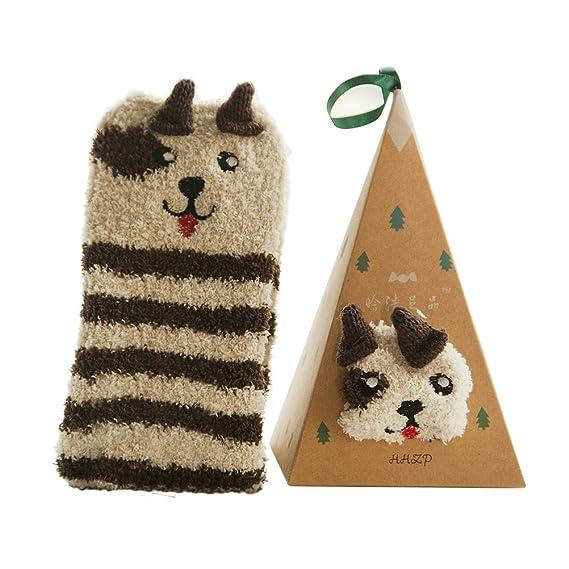 Tinksky Calcetines de lana de coral lindo calcetines animales de dibujos animados regalo de cumpleaños de