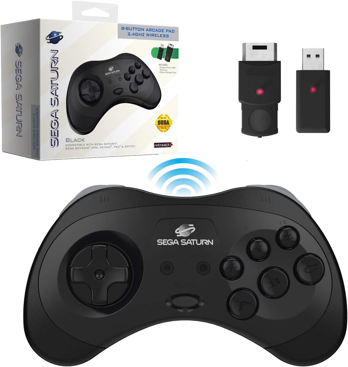 Retro-Bit Official Sega Saturn 2.4 GHz Wireless Controller 8-Button Arcade Pad for Sega Saturn, Sega Genesis Mini, Switch, PS3, PC, Mac - Includes 2 Receivers & Storage Case - Black