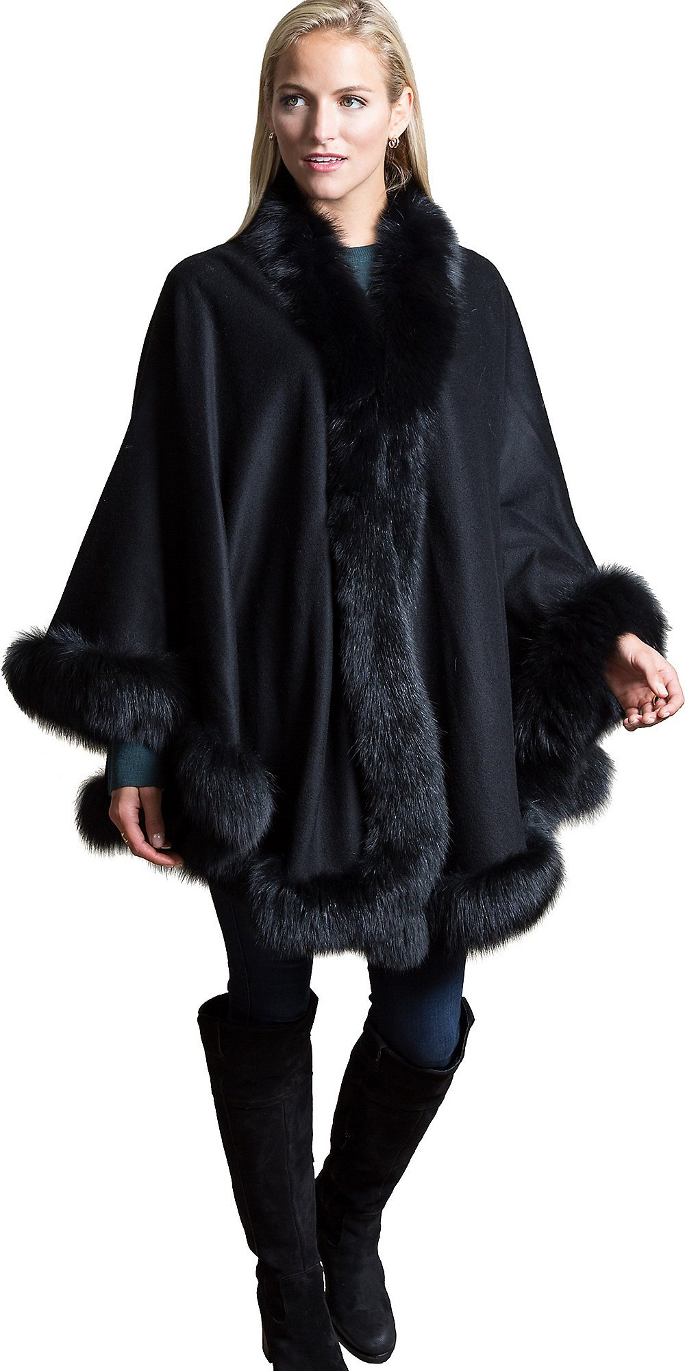 Jodie Cashmere Cape with Fox Fur Trim, BLACK, Size 1 Size