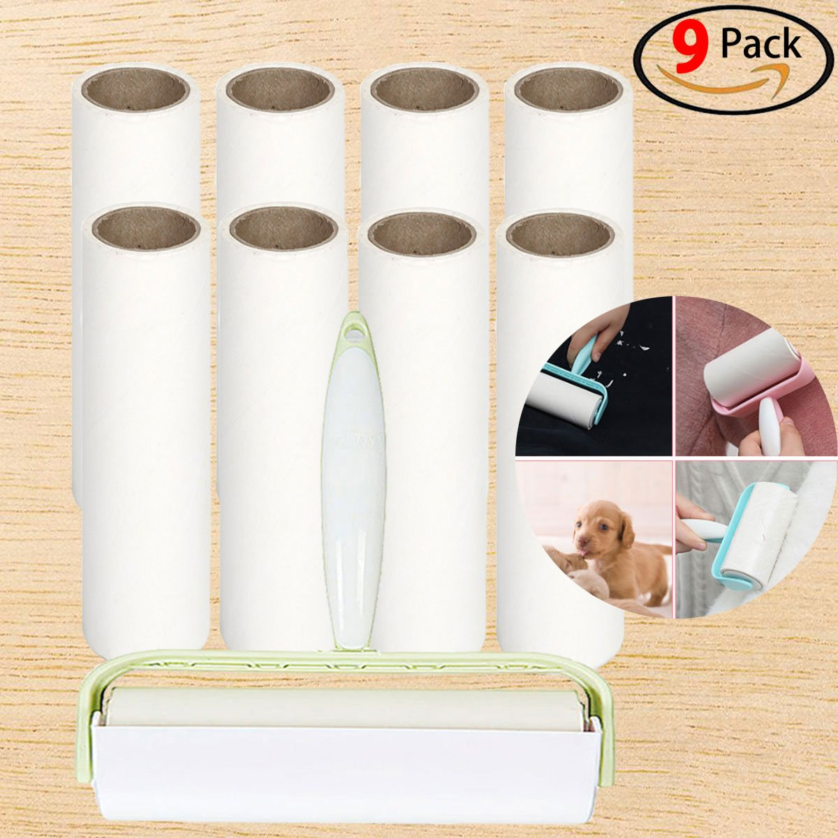 Lint Roller Pet Hair Roller Stick Roller Pet Fur Remover 9 Rolls of Stick Paper for Clothes/Pet/ Furniture/Car Total 540 Sheets