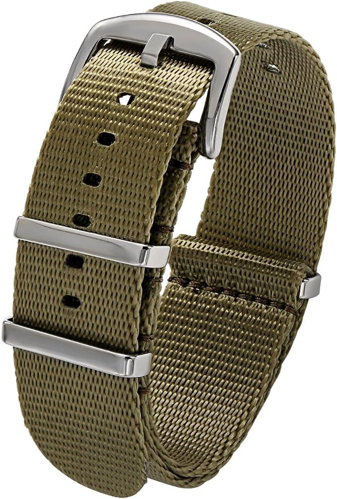 PBCODE Cinturón de seguridad Nato Reloj Correas 22mm Nylon Correa de repuesto Reloj Banda Verde oliva: Amazon.es: Relojes