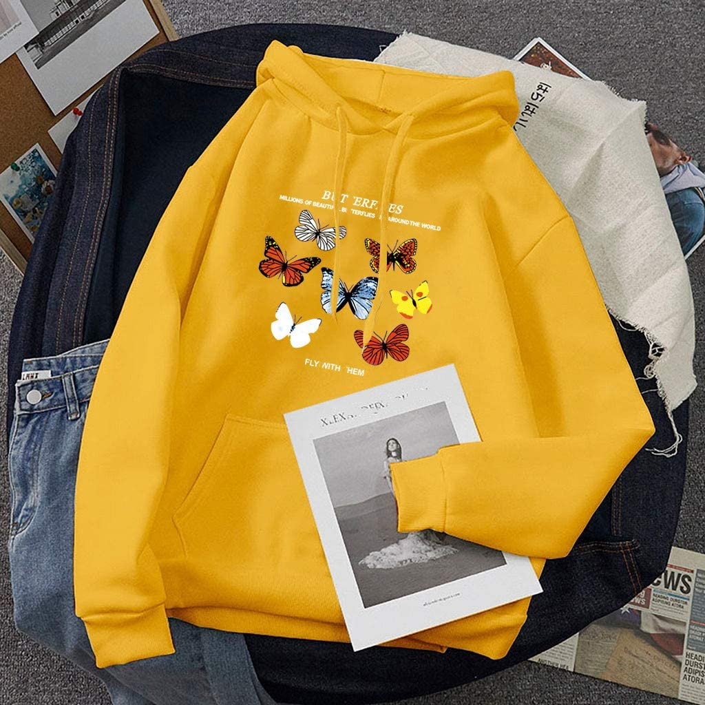 NECHOLOGY Women Teen Girl 2020 Cartoon Butterfly Print Loose Hoodie Sweatshirt Tunic Tops Cozy Long Sleeve Pullover Hooded
