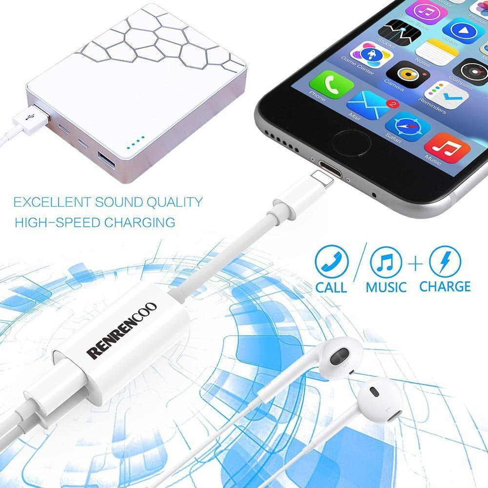 iPhone Splitter Audio Charge for iPhone X,iPhone 8/8Plus,iPhone 7/7Plus, Renrencoo 2 in 1 Lightning Headphone Adapter Support iOS 10.3 iOS 11
