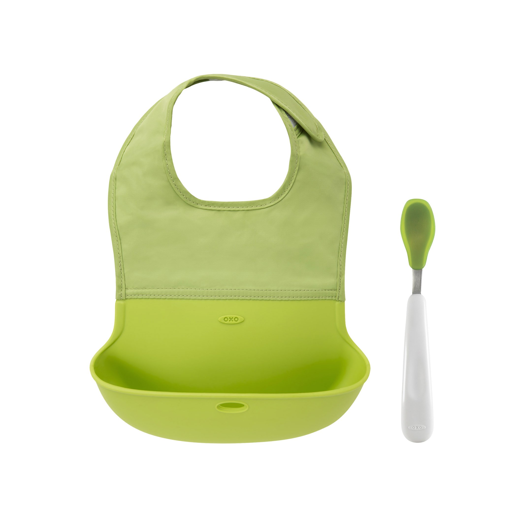 OXO Tot Roll Up Bib and Silicone Spoon Set - Green