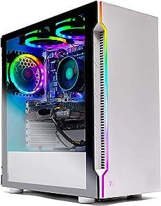 SkyTech Archangel Gaming Computer PC Desktop - Ryzen 5 3600 6-Core 3.6GHz, GTX 1660 Ti 6G, 500G SSD, 8GB DDR4 3000, B450 MB, RGB, AC WiFi, Windows 10 Home 64-bit, White