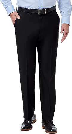 Haggar Men's Premium Comfort Classic Fit Flat Front Expandable Waist Pant