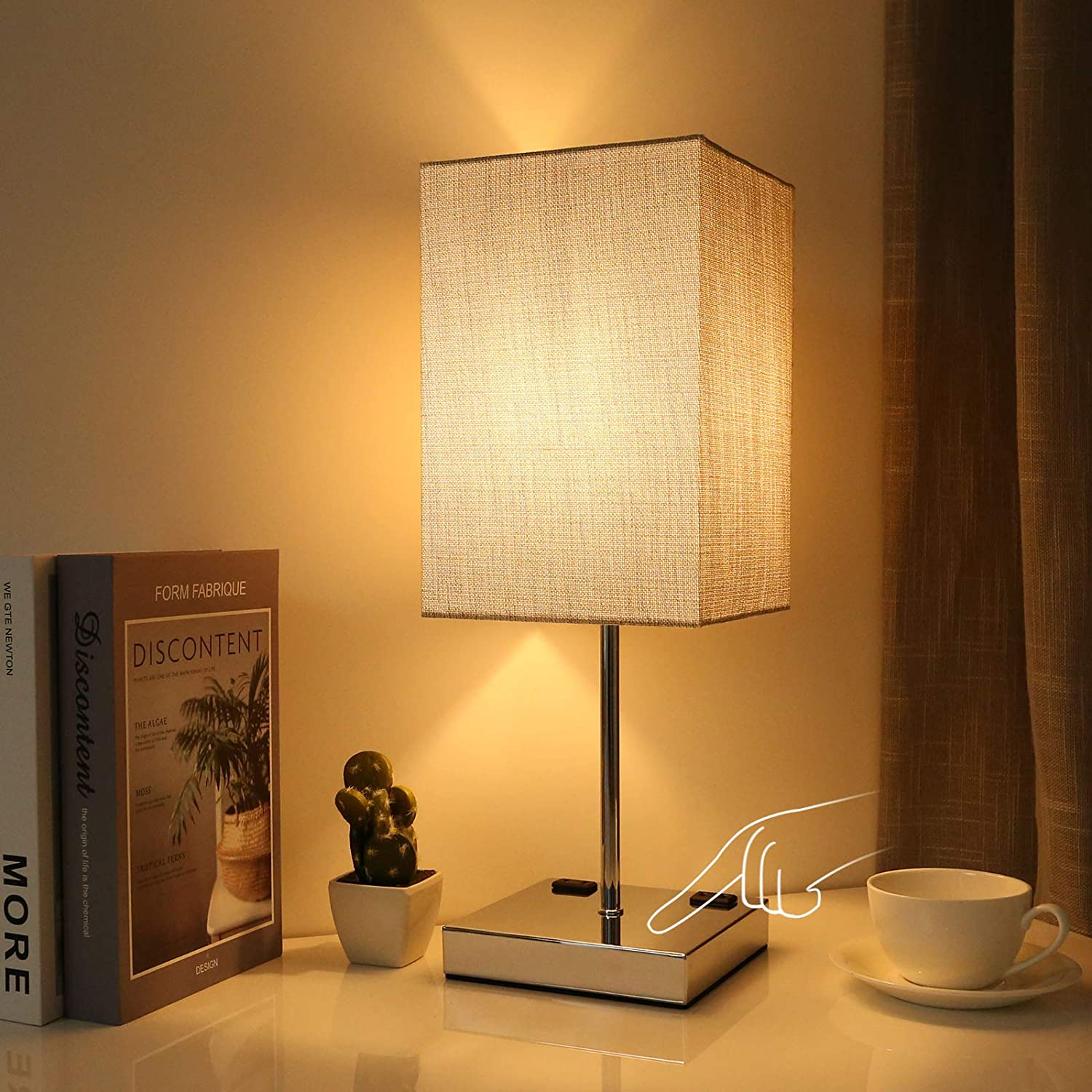 Bedside Table Lamp, 17.5inch Night Table Lamp for Bedroom, 3 Way Touch Control Nightstand Lamp with Outlets, Linen Fabric Shade, Silver Chrome Base, Decor for Desk, Bedroom, Livingroom (Bulb Included)