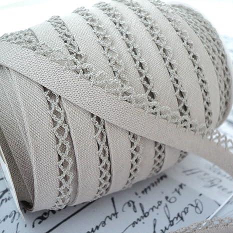 Cotton Fabric Trim Higgs /& Higgs Beige Linen Picot Bias Binding