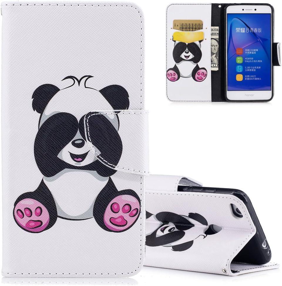 Aeeque pour Coque Huawei P8 Lite 2017 Blanc, Cute Panda Motif Flip Pochette Etui a Rabat en Cuir Anti Choc Anti-rayure Housse de Protection avec ...