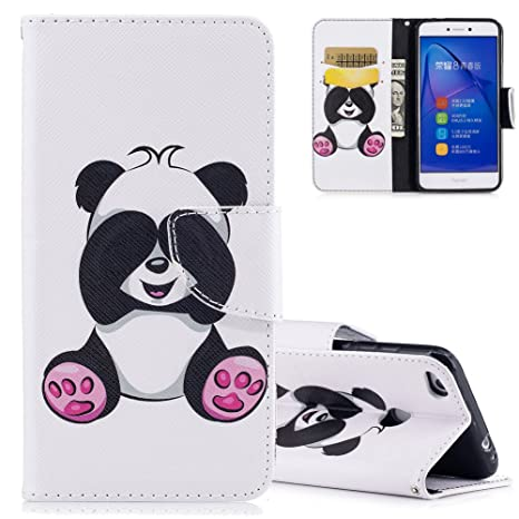 codice promozionale 3d938 4ace8 Aeeque Cover Huawei P8 Lite (2017) Pelle PU Portafoglio Bianco Custodia per  Huawei P8 Lite 2017 (5.2 Pollici) Panda Simpatico Modello Smart Cabina ...